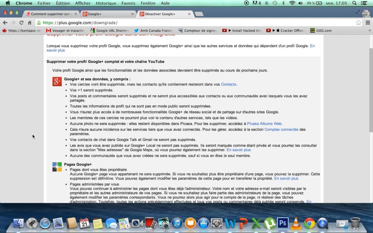 Comment supprimer un compte google plus for Comment nettoyer la fonte
